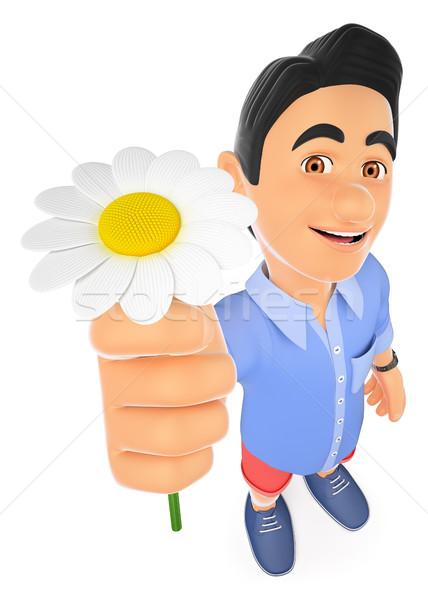 3D młody człowiek szorty Daisy wiosną młodych ludzi Zdjęcia stock © texelart