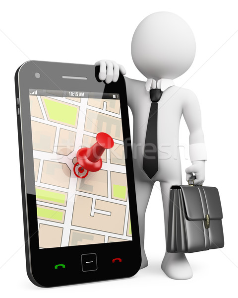 3D business white people. Mobile phone with GPS Stock photo © texelart