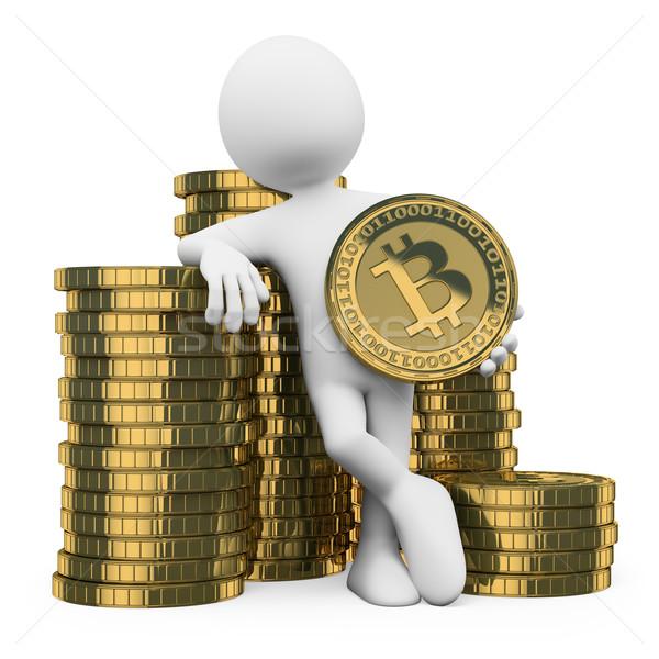 Photo stock: 3D · blancs · bitcoin · homme