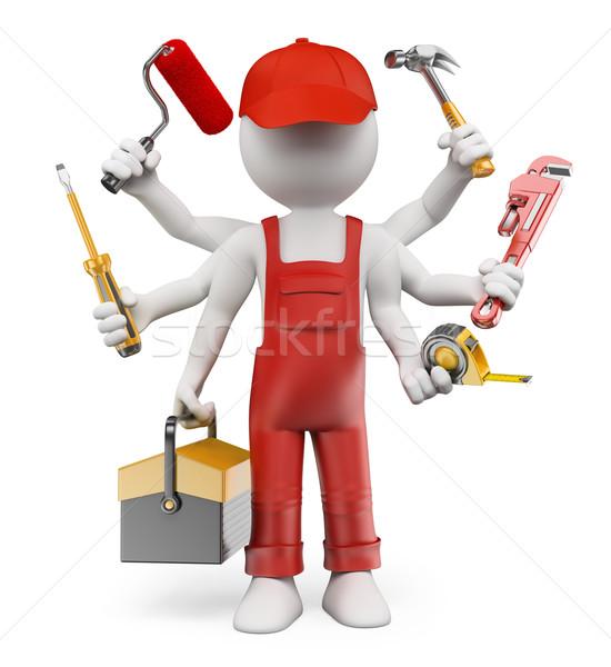 3D white people. Multitasking handyman Stock photo © texelart