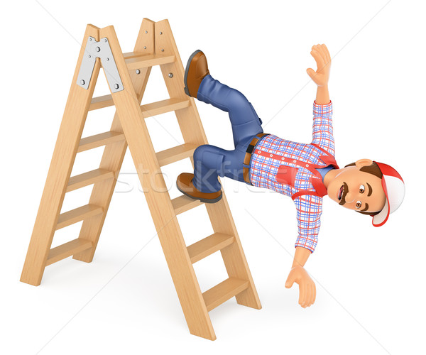 3D Worker falling off a ladder. Occupational accident Stock photo © texelart