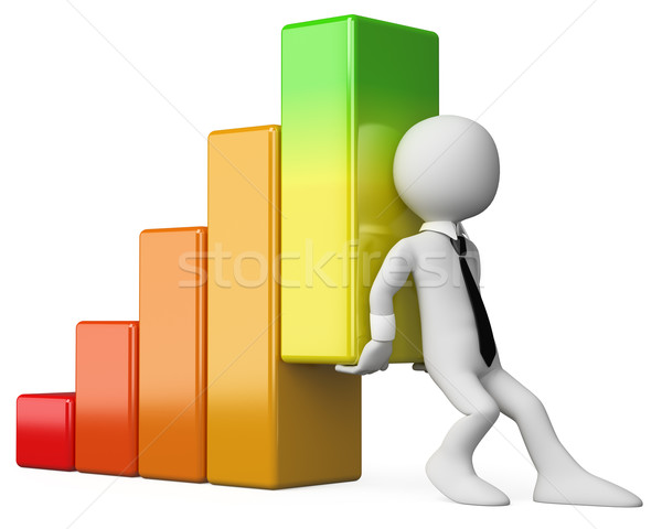 3D business white people. Economy bar graph Stock photo © texelart