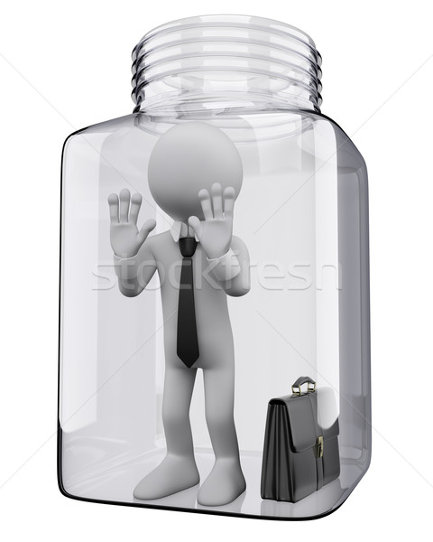 3D white people. Businessman in a glass jar Stock photo © texelart