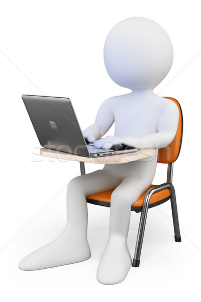 3D white people. Student in class with a laptop Stock photo © texelart