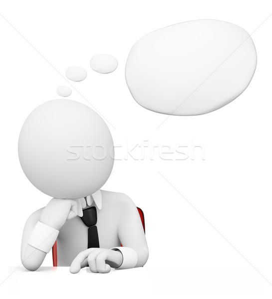 3D white people. Businessman with thought bubble Stock photo © texelart