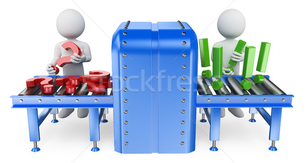 Stock photo: 3D white people. Conveyor. Questions and answers concept