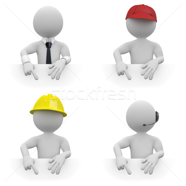 Businessman, worker, architect and telemarketer, pointing down. Area to fill in with your text Stock photo © texelart