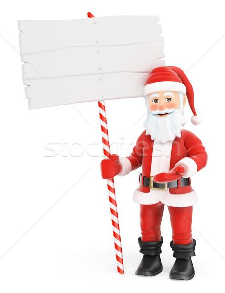 3D mikulás üres tábla karácsony emberek illusztráció Stock fotó © texelart