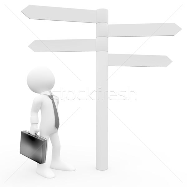 3D human looking information sign Stock photo © texelart