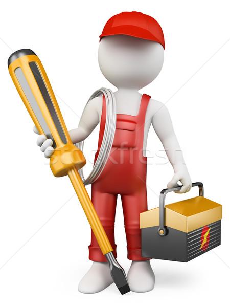 3D weiße Menschen Elektriker Werkzeugkasten Schraubendreher isoliert Stock foto © texelart