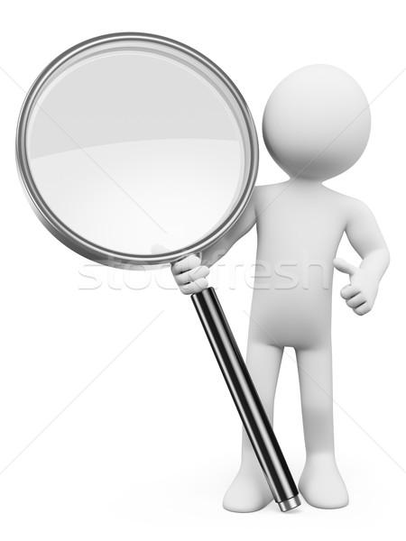 ストックフォト: 3D · 白の人々 · 虫眼鏡 · 検索 · 孤立した · 白