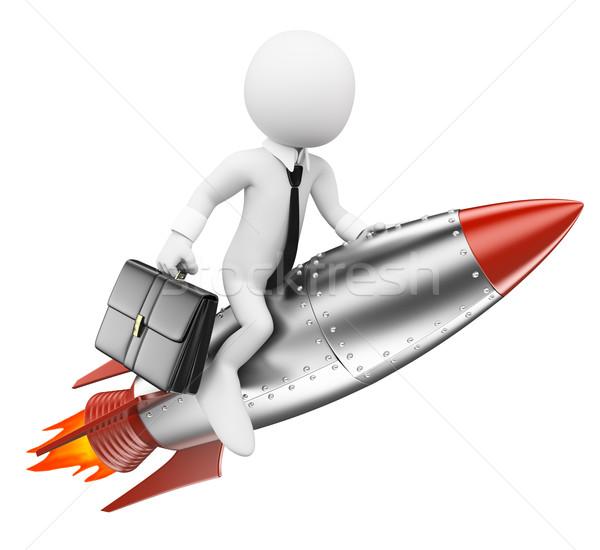 3D fehér emberek üzletember rakéta célok izolált Stock fotó © texelart
