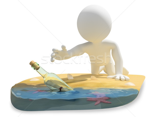 3D white people. Message in a bottle on the beach Stock photo © texelart