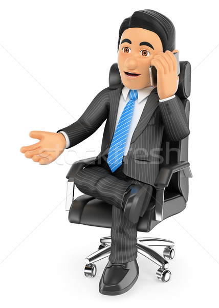 3D Businessman sitting in his chair speaking by mobile phone Stock photo © texelart