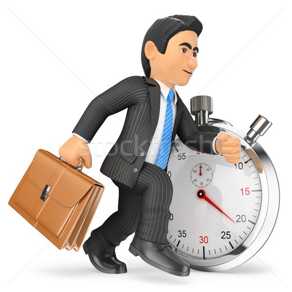 3D empresario de trabajo cronógrafo tiempo gente de negocios Foto stock © texelart