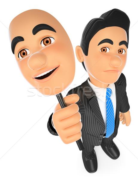 3D Businessman sad with a cheerful mask Stock photo © texelart