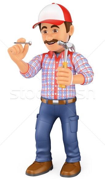 3D Worker hammering a nail with a hammer Stock photo © texelart