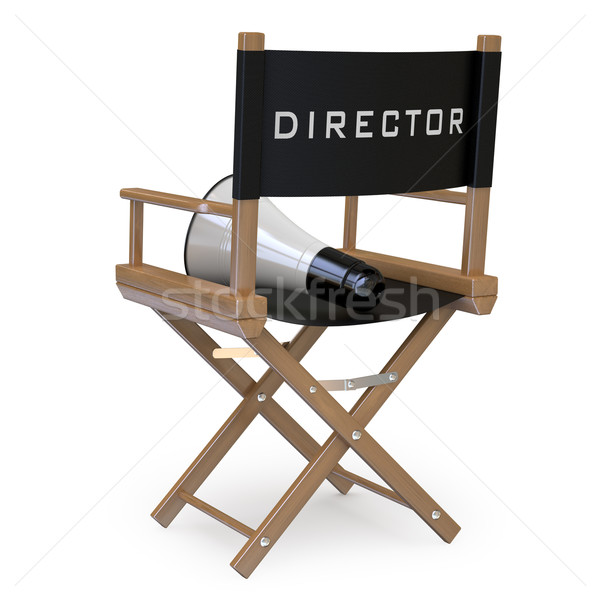 Stock photo: Film director's chair with a megaphone back view