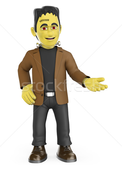 3D Funny monster pointing aside. Blank space. Halloween Stock photo © texelart
