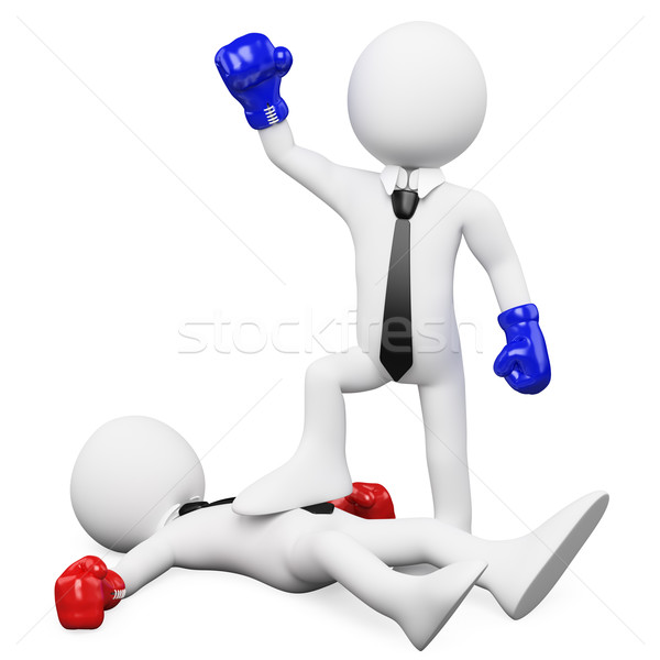 Businessman winning a boxing match and with his foot on his opponent Stock photo © texelart