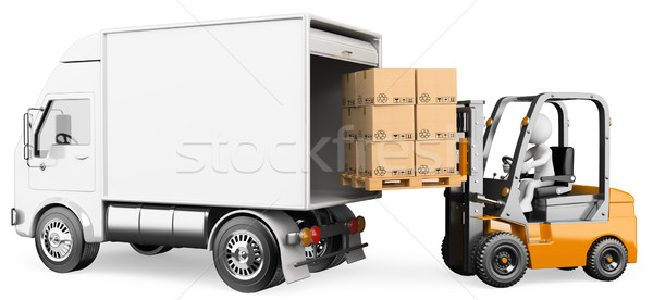3D white people. Worker loading a truck with a forklift Stock photo © texelart