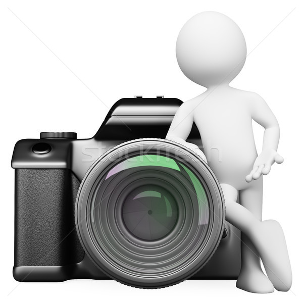 Stock photo: 3D white people. Digital camera DSLR