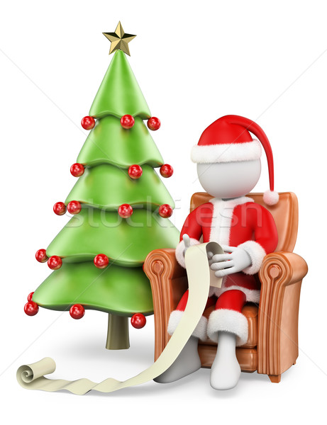 6a6cd2af5638b  5038292 3D white people. Santa Claus on his sofa reading wishlist by  texelart Stock photo