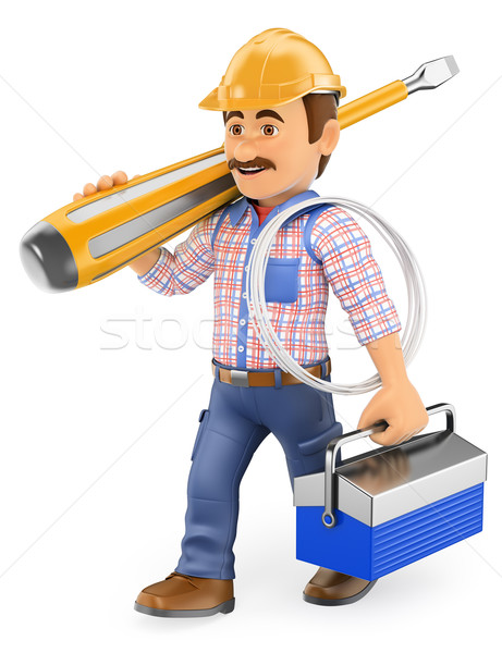 3D Electrician walking with a screwdriver and toolbox Stock photo © texelart