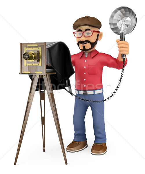 3D Photographer taking a photo with a vintage camera Stock photo © texelart