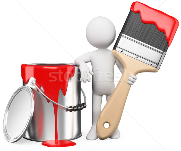 3D artist posing with a can of red paint and paintbrush Stock photo © texelart