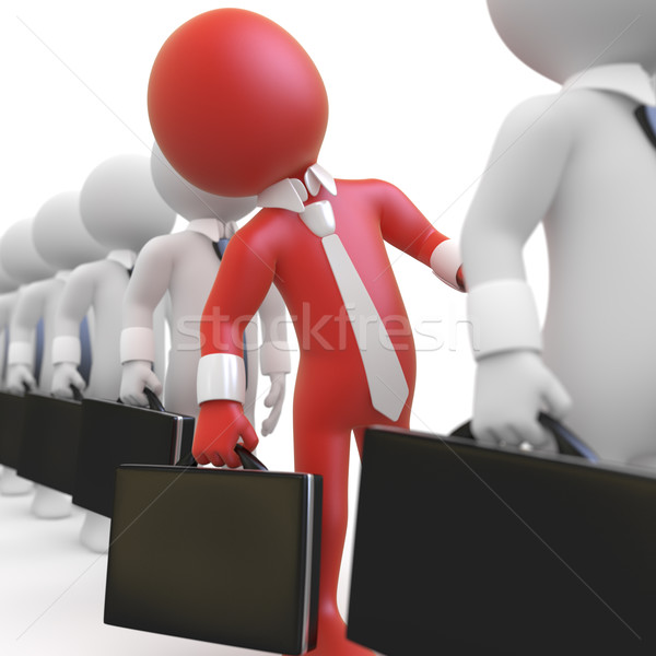 Businessman queuing with a briefcase in hand Stock photo © texelart