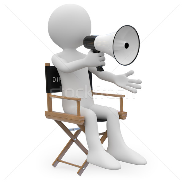 Film director sitting in a chair with a megaphone Stock photo © texelart