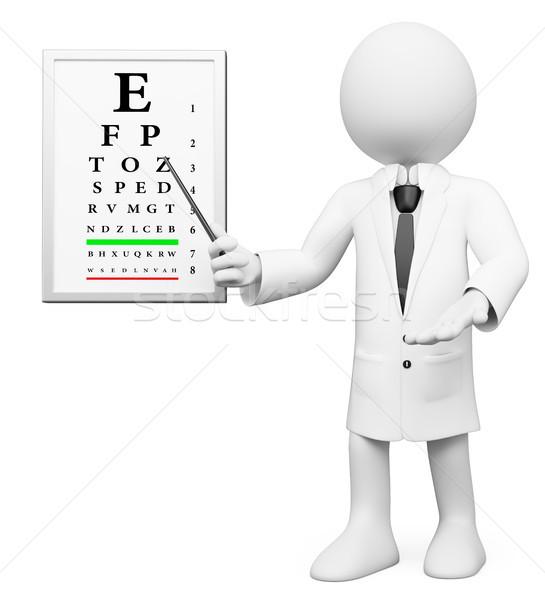 3D biali ludzie okulista optyk biały medycznych Zdjęcia stock © texelart