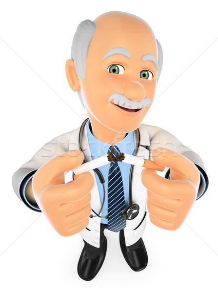 3D orvos cigaretta dohányozni tilos orvosi emberek Stock fotó © texelart