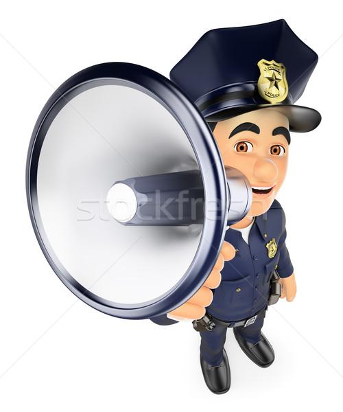 3D rendőr beszél megafon biztonság erők Stock fotó © texelart