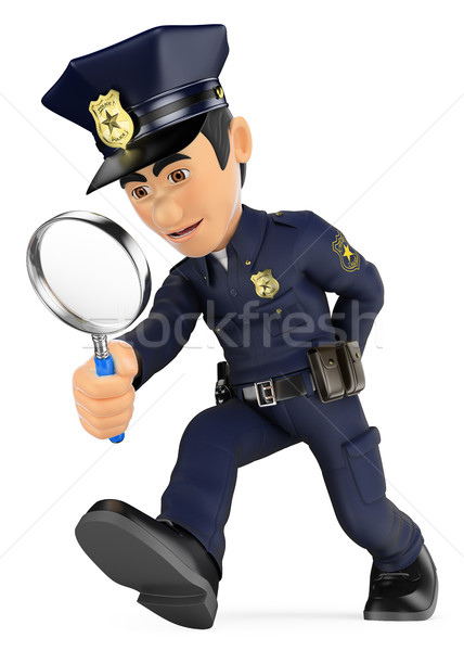 3D Policeman looking with a magnifying glass. Investigation. CSI Stock photo © texelart