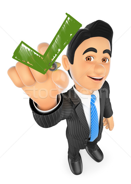 3D Businessman drawing a green tick Stock photo © texelart