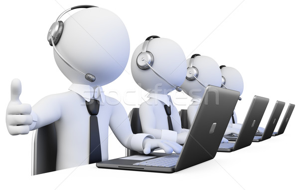 3D Operators working in a call center Stock photo © texelart