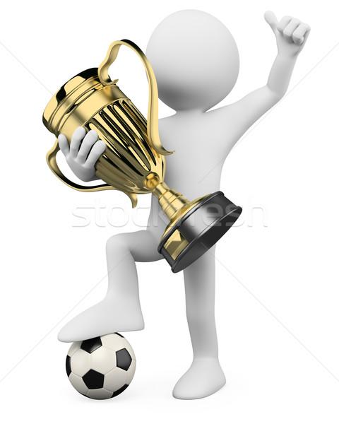 3D Fußballspieler Welt Champion gerendert groß Stock foto © texelart