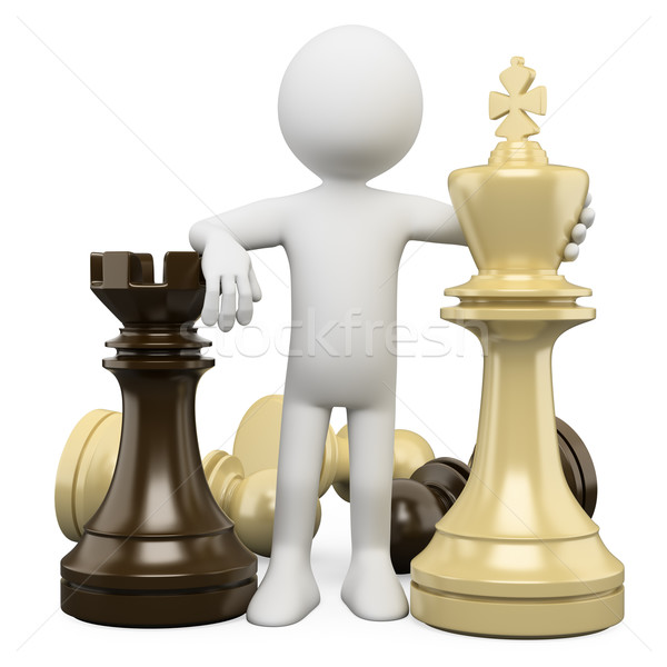 3D white people. Chess Stock photo © texelart
