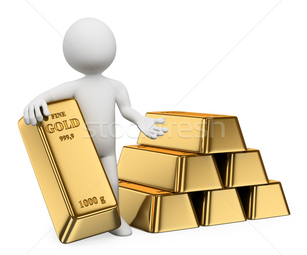 3D white people. Gold ingots. Bullion Stock photo © texelart