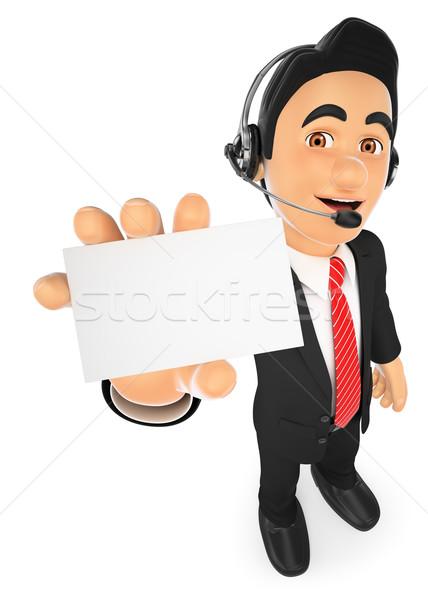 3D ügyfélszolgálat alkalmazott üres kártya üzletemberek illusztráció Stock fotó © texelart