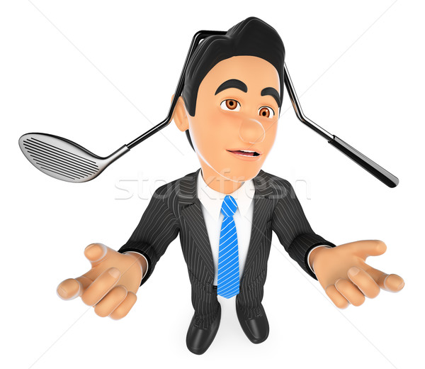 3D Businessman with a golf club hit on head Stock photo © texelart