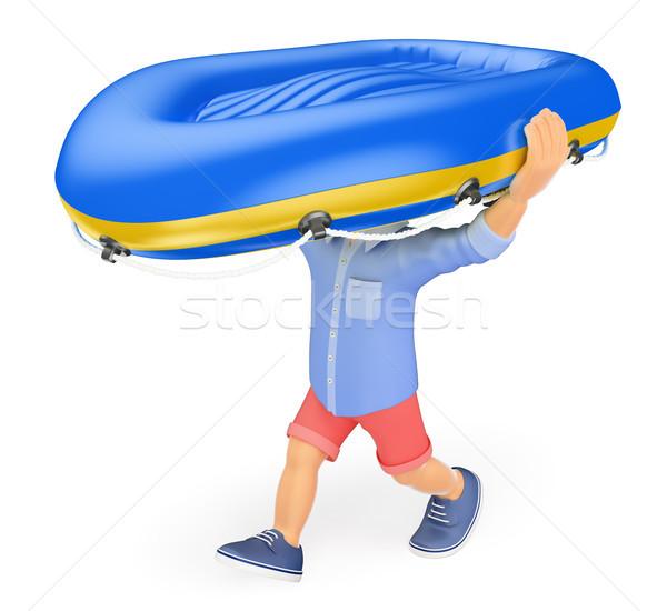 3d ember rövidnadrág hordoz felfújható csónak fej Stock fotó © texelart