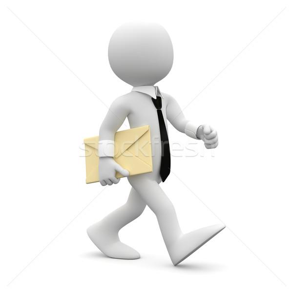Hombre caminando traje empate carta brazo Foto stock © texelart