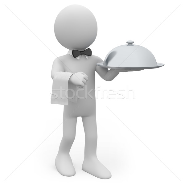 Stock photo: Waiter with a silver tray in hand