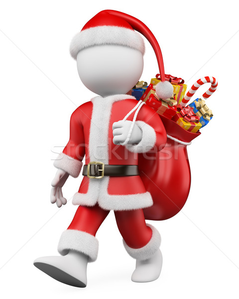 3D Christmas white people. Santa Claus walking with a sack full  Stock photo © texelart