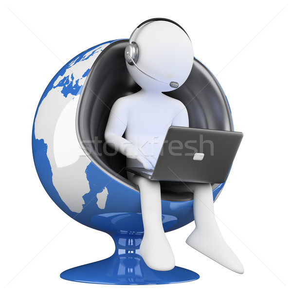 3D white people. call center globalization Stock photo © texelart