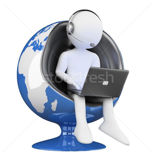 3D los blancos centro de llamadas globalización blanco persona Foto stock © texelart