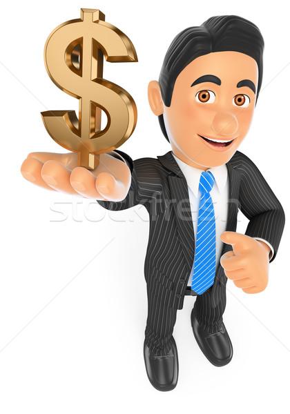 3D Businessman with a gold dollar symbol Stock photo © texelart